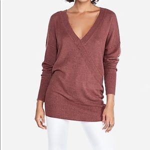 Banded Bottom Wrap Front Tunic Sweater - WITH TAGS